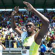 Usain Bolt, Jamaica, celebrates win fans after his win in the Men's 200m during the Diamond League Adidas Grand Prix at Icahn Stadium, Randall's Island, Manhattan, New York, USA. 13th June 2015. Photo Tim Clayton