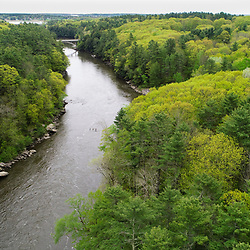 An aerial view of the Presumpscot River in Portland, Maine. Spring.