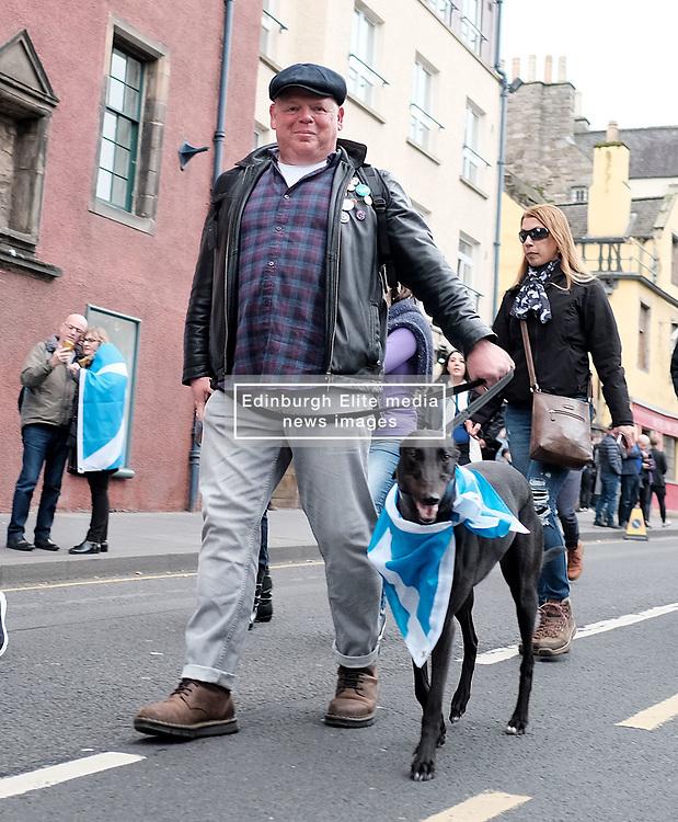 All Under One Banner March, Edinburgh, 5 October 2019<br /> <br /> Pictured: A dog with a flag<br /> <br /> Alex Todd | Edinburgh Elite media