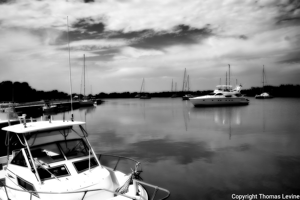 Bill Baggs Harbor with boats in Black and White infrared.