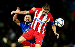 Daniel Drinkwater of Leicester City challenges Jose Gimenez of Atletico Madrid to a header - Mandatory by-line: Robbie Stephenson/JMP - 18/04/2017 - FOOTBALL - King Power Stadium - Leicester, England - Leicester City v Atletico Madrid - UEFA Champions League Quarter-Final Second Leg
