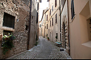 Street scene in Trevi, Umbria, Italy. Trevi is an ancient town and comune on the lower flank of Monte Serano.