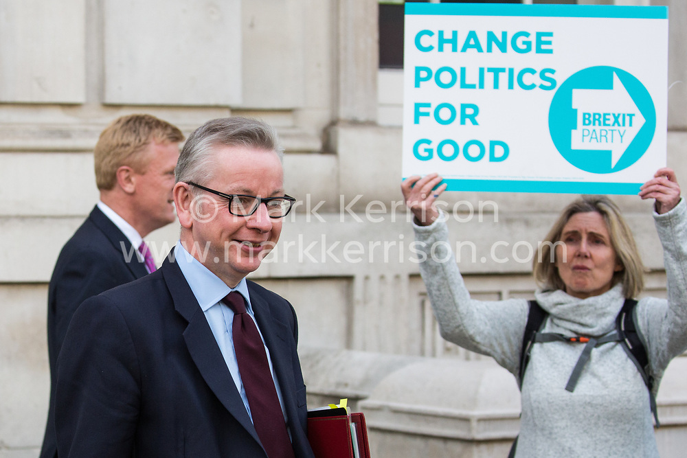 London, UK. 7 May, 2019. Michael Gove MP, Secretary of State for Environment, Food and Rural Affairs, leaves the Cabinet Office following cross-party Brexit talks with Labour Party representatives Shadow Chancellor John McDonnell, Shadow Secretary of State for Exiting the European Union Sir Keir Starmer, Shadow Secretary of State for Business, Energy and Industrial Strategy Rebecca Long-Bailey and Shadow Secretary of State for the Environment Sue Hayman. Talks resume tomorrow.