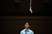 Eighth grader Shreyas Rangan looks up as he is stumped by a word during the 1st Annual Spelling Bee at Rancho Middle School in Milpitas, California, on December 9, 2015. (Stan Olszewski/SOSKIphoto)
