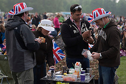 LOCATION, UK  29/04/2011. The Royal Wedding of HRH Prince William to Kate Middleton. Royal fans in Hyde Park wait for the wedding to begin. Photo credit should read Matt Cetti-Roberts/LNP. Please see special instructions. © under license to London News Pictures