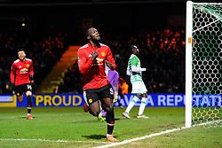 Romelu Lukaku of Manchester United celebrates after scoring his sides fourth goal - Mandatory by-line: Alex Davidson/JMP - 26/01/2018 - FOOTBALL - Huish Park - Yeovil, England -  v Manchester United - Emirates FA Cup fourth round proper
