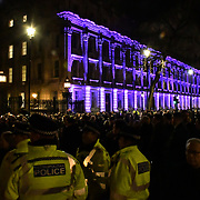 London, UK. 31th January 2020, Police on horseback security of Hundreds attend the Brexit Countdown, Downing Street, London, UK.