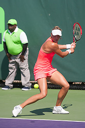 March 20, 2018 - Key Biscayne, FL, U.S. - Key Biscayne, FL - MARCH 20: Yanina Wickmayer (BEL) competes during the qualifying round of the 2018 Miami Open on March 20, 2018, at Tennis Center at Crandon Park in Key Biscayne, FL. (Photo by Aaron Gilbert/Icon Sportswire) (Credit Image: © Aaron Gilbert/Icon SMI via ZUMA Press)