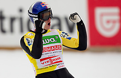 Thomas Morgenstern of Austria celebrates during Flying Hill Individual at 2nd day of FIS Ski Jumping World Cup Finals Planica 2011, on March 18, 2011, Planica, Slovenia. (Photo by Vid Ponikvar / Sportida)