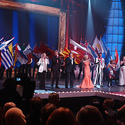 Finale Nationaal Songfestival 2005, podium, vlaggen Europese