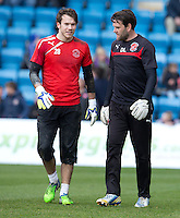 Fleetwood Town's Goalkeeper Coach David Lucas and Fleetwood Town's Chris Maxwell during the pre-match warm-up <br /> <br /> Photographer Stephen White/CameraSport<br /> <br /> Football - The Football League Sky Bet League One - Gillingham v Fleetwood Town -  Friday 3rd April 2015 - MEMS Priestfield Stadium - Gillingham<br /> <br /> © CameraSport - 43 Linden Ave. Countesthorpe. Leicester. England. LE8 5PG - Tel: +44 (0) 116 277 4147 - admin@camerasport.com - www.camerasport.com