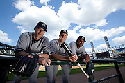 Portrait of New York Yankees A.J. Burnett, Mark Teixeira, and C.C. Sabathia at U.S. Cellular Field before a game against the Chicago White Sox.