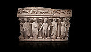 """Roman relief sculpted sarcophagus with kline couch lid, """"Columned Sarcophagi of Asia Minor"""" style typical of Sidamara, 3rd Century AD, Konya Archaeological Museum, Turkey. Against a black background .<br /> <br /> If you prefer to buy from our ALAMY STOCK LIBRARY page at https://www.alamy.com/portfolio/paul-williams-funkystock/greco-roman-sculptures.html . Type -    Konya     - into LOWER SEARCH WITHIN GALLERY box - Refine search by adding a subject, place, background colour, museum etc.<br /> <br /> Visit our ROMAN WORLD PHOTO COLLECTIONS for more photos to download or buy as wall art prints https://funkystock.photoshelter.com/gallery-collection/The-Romans-Art-Artefacts-Antiquities-Historic-Sites-Pictures-Images/C0000r2uLJJo9_s0"""