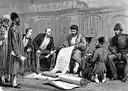 Second Anglo-Afghan War (1878-1880): Yakub (Yakoob) Khan, Afghan ruler, and Major Louis Cavagnari, the British negotiator, signing the Treaty of Gundamuk, 26 May 1879. Wood engraving 1879
