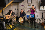 Music industry training day, 'How Music Works' run by the Creative Borders Arts Network, CABN. The training took place at the Tower Mill, Hawick and included sessions delivered by a number of local and national music industry experts. Some musicians delievered some open mike sessions in the Tower cafe.