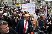 Donald Trump lookalike works the crowds in Trafalgar Square during protests against the state visit of US President Donald Trump on 4th June 2019 in London, United Kingdom. Organisers Together Against Trump which is a collaboration between the Stop Trump Coalition and Stand Up To Trump, have organised a carnival of resistance, a national demonstration to protest against President Trump's policies and politics during his official UK visit.