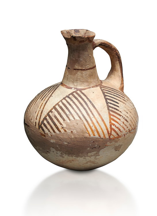 Cycladic ceramic jug with linear decoration. Cycladic II (2800-2300 BC) , Chalandriani, Syros. National Archaeological Museum Athens. Cat no 5147.   White background. .<br /> <br /> If you prefer to buy from our ALAMY PHOTO LIBRARY  Collection visit : https://www.alamy.com/portfolio/paul-williams-funkystock/cycladic-art-artefacts.html Type into the LOWER SEARCH WITHIN GALLERY box to refine search by adding background colour, place, museum etc<br /> <br /> Visit our CYCLADIC CIVILISATIONS PHOTO COLLECTIONS for more photos to download or buy as wall art prints https://funkystock.photoshelter.com/gallery-collection/Cycladic-civilisation-Ancient-Greek-Artefacts-art-Photos-Pictures-Images/C0000CmevVvnC.XU