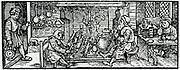 A Butcher. Woodcut from 'Calendarum Romanum Magnum',  1518.