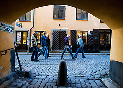 Cobbled street in historic Gamla Stan old town district of Stockholm Sweden
