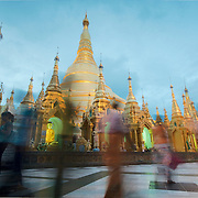 Shwedagon pagoda by dusk