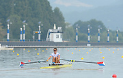 Chungju, South Korea. Sunday Heats, USA. LM1X. Andrew CAMPBELL Jr. Moves away from the start on the opening day of the 2013 FISA World Rowing Championships, Tangeum Lake International Regatta Course. 10:14:11  Sunday  25/08/2013 [Mandatory Credit. Peter Spurrier/Intersport Images]