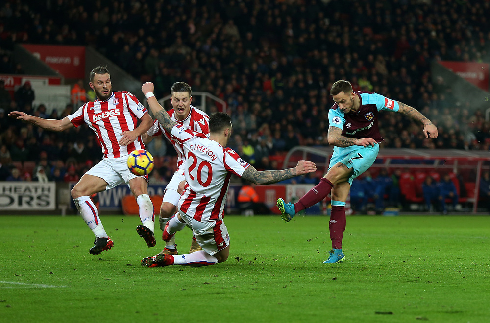 West Ham United's Marko Arnautovic goes close in the first half<br /> <br /> Photographer Rob Newell/CameraSport<br /> <br /> The Premier League - Stoke City v West Ham United - Saturday 16th December 2017 - Britannia Stadium - Stoke-on-Trent <br /> <br /> World Copyright © 2017 CameraSport. All rights reserved. 43 Linden Ave. Countesthorpe. Leicester. England. LE8 5PG - Tel: +44 (0) 116 277 4147 - admin@camerasport.com - www.camerasport.com