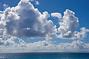 Blue sky and clouds over the ocean as seen from St. Barthelemy, FWI