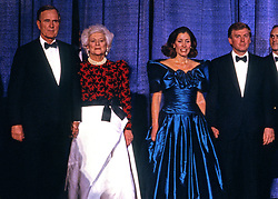 From left to right: United States President-elect George H.W. Bush, Barbara Bush, Marilyn Quayle, and US Vice President-elect Dan Quayle, attends the Inaugural Gala at the Washington DC Convention Center in Washington, DC on January 18 1989. Photo by David Burnett / Pool via CNP /ABACAPRESS.COM