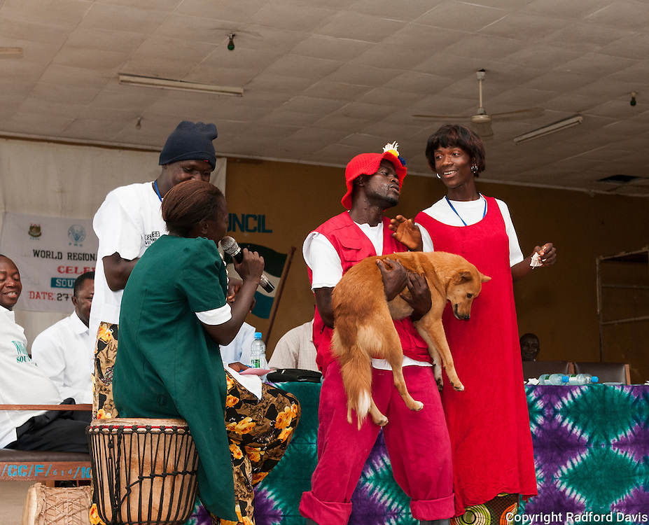 A skit keeps the kids entertained, but they also learn at the same time. Here, this funny skit shows men in drag posing as dog owners, and of course dog bites and rabies is a large component of the play. It was well received by the kids.