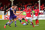 Ebbsfleet United midfielder Andy Drury (8) takes a shot during the Vanarama National League South match between Ebbsfleet United and East Thurrock United at the Enclosed Ground, Whitehawk, United Kingdom on 4 March 2017. Photo by Jon Bromley.