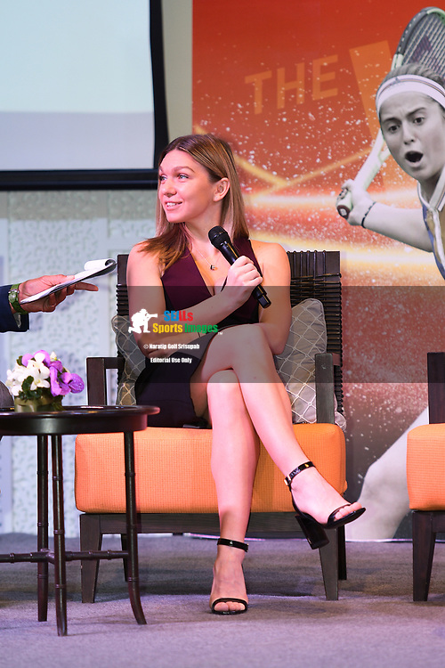 HUA HIN , THAILAND - DECEMBER 22: Simona Halep of Romania during the Press Conference at the Intercontinental World Tennis Thailand Championship 2017, True Arena Hua Hin, Hua Hin, Prachuap Khiri Khan, Thailand on December 22, 2017.<br /> .<br /> .<br /> .<br /> (Photo by: Naratip Golf Srisupab/SEALs Sports Images)<br /> .<br /> Any image use must include a mandatory credit line adjacent to the content which should read: Naratip Golf Srisupab/SEALs Sports Images