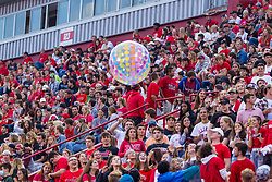 NORMAL, IL - September 04: Fans enjoy several beach balls as the level of spirit is high for the first game of the season during a college football game between the Bulldogs of Butler University and the ISU (Illinois State University) Redbirds on September 04 2021 at Hancock Stadium in Normal, IL. (Photo by Alan Look)