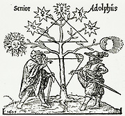 'Senior instructs Adolphus at the foot of the Tree of Metals. At corners of lower triangle are symbols of the alchemical tria prima, Sulphur, Mercury and Salt. From ''Occulus philosophia ..'' Frankfurt, 1613.'