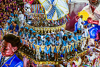 Floats in the Carnaval parade of Unidos da Ponte samba school in the Sambadrome, Rio de Janeiro, Brazil.