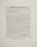 """Letter from General Grant from The American Civil War book and Grant album : """"art immortelles"""" : a portfolio of half-tone reproductions from rare and costly photographs designed to perpetuate the memory of General Ulysses S. Grant, depicting scenes and incidents in connection with the Civil War Published  in Boston and New York by W. H. Allen in 1894"""