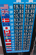 International currency rates on the board outside a bureau-de-change in Hradcany district, on 19th March, 2018, in Prague, the Czech Republic.