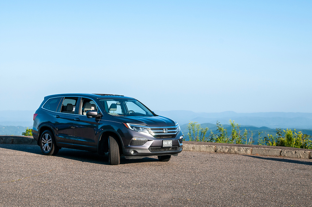 The Honda Pilot parked at the Elk Mountain Overlook on the Blue Ridge Parkway in North Carolina on Saturday, August 28, 2021. Copyright 2021 Jason Barnette