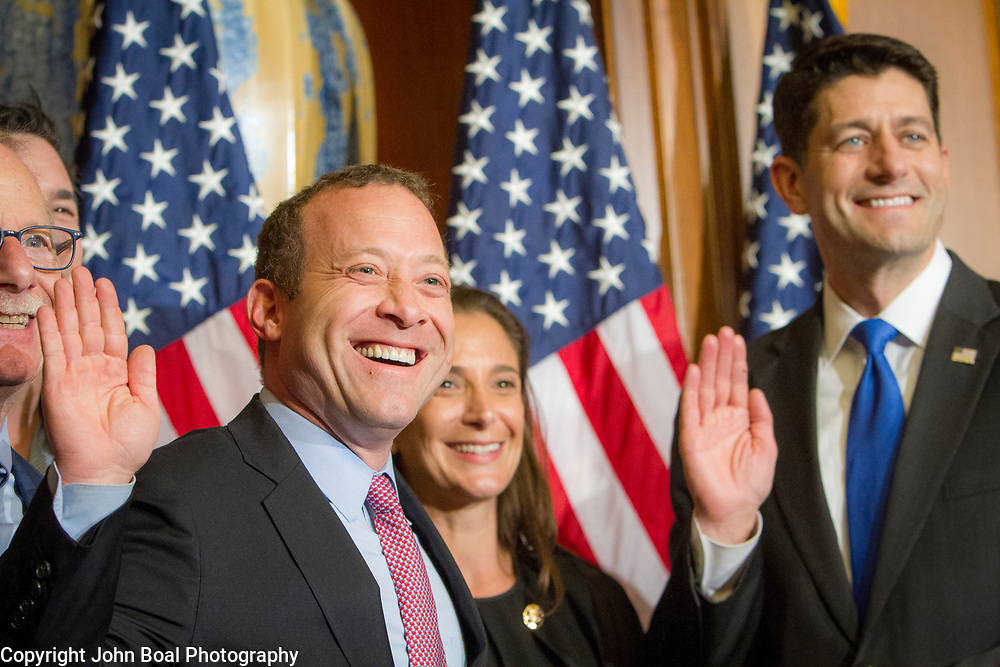 Representative Josh Gottheimer (D-NJ, 15) meets with Speaker Paul Ryan (R-WI, 1) during a ceremonial swearing-in on Wednesday, January 3, 2017.  Rep. Gottheimer was officially sworn in earlier in the day.  John Boal photo/for The Record