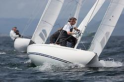 International Dragon Class Scottish Championships 2015.<br /> <br /> Day 1 racing in perfect conditions.<br /> <br /> GBR622, MERLIN, Robert & Christine Riddell, SCYC\<br /> <br /> <br /> Credit Marc Turner
