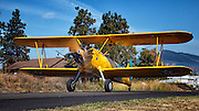 Stearman taxiing at Hood River Fly In at Western Antique and Aeroplane and Automobile Museum