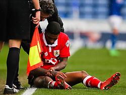 Bristol City's Mark Little picks up an arm injury - Photo mandatory by-line: Matt McNulty/JMP - Mobile: 07966 386802 - 03/04/2015 - SPORT - Football - Oldham - Boundary Park - Oldham Athletic v Bristol City - Sky Bet League One
