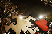 The Keith Haring Balloon at The Macy's Balloon Inflation session held at West 79th and Central Park West on November 26, 2008 in New York City..A tradition since 1927, the giant character balloons are slowly blown up and brought to life in the streets around the American Museum of Natural History. The enormous balloons take up two full city blocks. Nets and sandbags are used to keep the balloons from escaping during the night.
