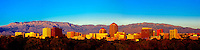 Panoramic view of the skyline of downtown Albuquerque, New Mexico USA