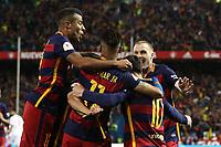 FC Barcelona's Rafinha, Neymar Junior, Leo Messi and Geremi Mathieu  during Spanish Kings Cup Final match. May 22,2016. (ALTERPHOTOS/Rodrigo Jimenez)