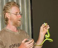 British herpetologist Mark O'Shea prepares to milk the venom of a Sunda Island pitviper, Cryptelytrops insularis, at Bakhita Mission, near Eraulo, Ermera District, Timor-Leste (East Timor)