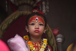 April 26, 2018 - Kathmandu, NP, Nepal - 5 yrs old Living goddess of Patan, Nihira Bajracharya, arrive to observe the Chariot Pulling Festival of Rato Machindranath 'God of Rain' from Lagankhel on Thursday, April 26, 2018. Rato Machindranath is also said as the 'god of rain' and both Hindus and Buddhists worship the Machindranath in hope of good rain to prevent drought during the rice plantation season. (Credit Image: © Narayan Maharjan/NurPhoto via ZUMA Press)