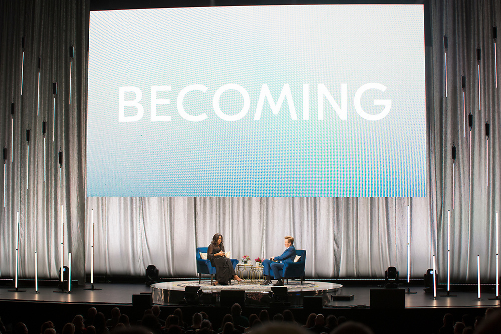 Michelle Obama sits down with Conan O'Brien for her Becoming Tour at the Miller High Life Theatre in Milwaukee, WI on March 14, 2019.
