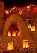Luminarias on horno, Christmas eve, Old Town Albuquerque, NM