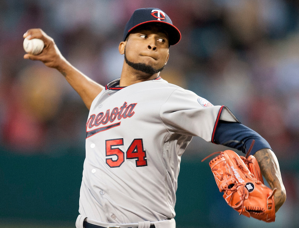 Minnesota Twins pitcher Ervin Santana throws against his former team Tuesday night at Angel Stadium.<br /> <br /> ///ADDITIONAL INFO:   <br /> <br /> angels.0615.kjs  ---  Photo by KEVIN SULLIVAN / Orange County Register  -- 6/14/16<br /> <br /> The Los Angeles Angels take on the Minnesota Twins Tuesday at Angel Stadium.