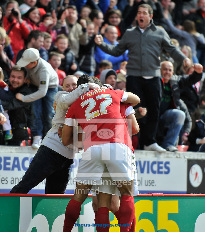 Picture by Richard Land/Focus Images Ltd +44 7713 507003.27/04/2013.Jacob Mellis of Barnsley celebrates scoring during the npower Championship match at Oakwell, Barnsley.